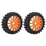 VGEBY1 El neumático de Goma 2Pcs, Rueda de los neumáticos de Coche de la Mejora RC con el Eje de la llanta para 1/8 Carro del Control Remoto del Coche(Naranja)