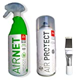 Kit Limpiador aire acondicionado Airnet + AirProtec + Peine de aletas. Desinfectante circuitos casa y coche. Spray higenizador mal olor de Split, filtros, conductos, rejillas. Higienizante bactericida