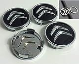 Tapacubos para Citroen,de 60 mm,1 Llavero de Regalo Incluido Tapas para Llantas Rueda Central C2, C4, C5, C6, de Color Negro con el Logo Cromado