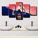 YOPLLL Lienzo 5 Piezas Moderno Cuadro En Lienzo 5 Piezas Salón De Hogardecoracion De Pared Barcelona Delantero Messi Rojo Azul(Enmarcado)
