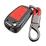 Happyit ABS Carcasa de Fibra de Carbono + Silicona Cubierta de la Caja de la Llave del Coche Llavero para Audi Sline A3 A5 Q3 Q5 A6 C5 C6 A4 B6 B7 B8 TT 80 S6 3 Botones (Rojo)