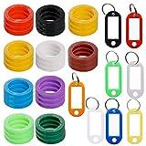 FineGood 30 pcs Étiquettes de clés avec 8 étiquettes de clé Windows, identificateur de clé en plastique Couvercle de bague de codage avec une étiquette d'identification de clé pour trousseau de bagage