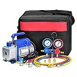 Bomba de Vacío 3CFM,1/4HP, Juego de Manómetros Diagnósticos, Para la Reparación de Equipos de Aire Acondicionado y Refrigeración Ideal Para R22, R134a, R410A, R407C