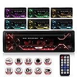 Autoradio Bluetooth Radio Coche Car Stereo Manos Libres 7Retroiluminación en Color Radio FM Estéreo de Coche 60Wx4 Apoyo de Reproductor MP3 para Automóvil con Capacidad para 18Emisoras de Radio 1DIN