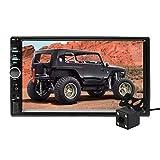 Aigoss Radio Coche Bluetooth para 2 DIN Reproductor MP5 de 7' Pantalla Tactil Autoradio Estéreo Manos Libres Radio con Cámara de Visión Trasera, Bluetooth/FM/USB/AUX/TF/Mirror Link