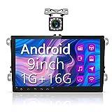 Radio Coche Android para VW, Hodozzy Autoradio Bluetooth con Pantalla Táctil HD de 9', Soporte Estéreo Doble DIN para Coche WiFi, FM, Enlace Espejo, Navegación GPS, Cámara de Marcha Atrás