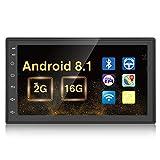 Android 2G+16G Coche Radio, Podofo 2 DIN GPS Pantalla táctil de 7 Pulgadas Reproductor de Video Multimedia MP5 Soporte BT USB WiFi Cámara de visión Trasera Gratuita y Enlace Espejo