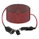 Thlevel 4m Cable de Extensión para Encendedor de Cigarrillos de Coche, Conector para Auto Encendedor Enchufe 12V/24V 15A Cable Alargador Mechero Coche [16AWG / 15A / 12V / 24V]