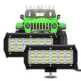 2 Piezas LED 7' 6000K 240W 12000LM 9-30V 4 Filas 8D Lente 96 LED Barra OFF-ROAD Light Bar Proyector 800M Luz Trabajo Punto Luz Niebla Faros Niebla Tractor Camiones SUV Barco Cosechadora