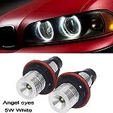 """Pack de 2 Ricoy de 5 W para E39, E53, E60, E61, E64, E65, E66, E87, X3, X5. LED """"Angel Eye"""" con marcador de halo de anillo y luz lateral blanca con bombilla LED."""