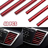 4X10 PCS Tira Moldura Interior de Coche, Tira de Decoración para Salida de Aire del Aire Acondicionado de Coche, Líneas de Moldura Flexible Decorativa Coche (Rojo + Rojo Hielo)