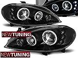 Faros delanteros para Renault Megane 03.99-10.02 Angel Eyes, color negro