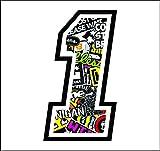 Adhesivo Numero 1 Carrera Raza 12 cm - Sticker Bomb - gara Cross Coche Motocicleta Pista Sticker