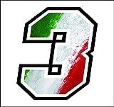 Adhesivo Numero 3 Carrera Raza 12 cm - Bandera Italiana - gara Cross Coche Motocicleta Pista Sticker