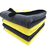 Faireach Paños Microfibra Coche para Exterior y Interior 840GSM, Bayetas Microfibra Limpieza Coche Cuidado Pulido Lavado Encerado y Limpieza del Polvo del Coche, Juego de 4 Unidades