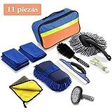 Kit Limpieza Coche 11 Piezas, Set Limpieza Coche, Kit de Herramientas de Lavado de Autos (Paños de limpieza, Cepillo para Llantas, Cepillo de Limpieza de automóviles, Bolsa de almacenamiento)