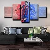 YOPLLL Lienzo 5 Piezas Moderno Cuadro En Lienzo 5 Piezas Salón De Hogardecoracion De Pared Delantero del Barcelona Lionel Messi(Enmarcado)
