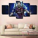 YOPLLL Lienzo 5 Piezas Moderno Cuadro En Lienzo 5 Piezas Salón De Hogardecoracion De Pared Barcelona Messi Lionel Azul(Enmarcado)