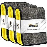 EASY EAGLE 1200GSM Toalla Secado Coche, 38x44CM Bayetas de Limpieza de Microfibra, Paños de Microfibra Coche, Bayetas de Microfibra Moto, 3 Unidades