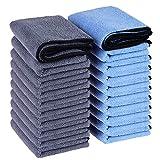 Wemk Bayeta de Limpieza de Microfibra, 20 Piezas Bayetas de Microfibra, 38x28cm(15' x 11'), 260GSM, Casa Cocina, Limpieza de Coches, Azul y Gris